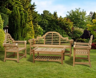 Lutyens 1.95m Bench, Chairs & Coffee Table Teak Patio Set