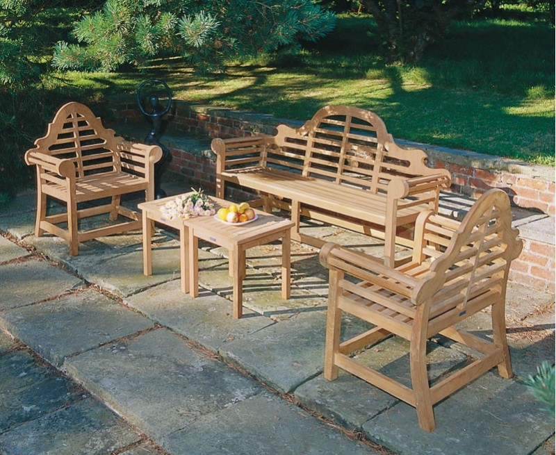 Lutyens 1.95m Bench, Chairs & Side Tables, Teak Patio Set