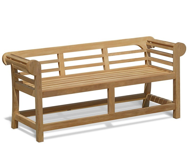 Lutyens-Style Teak Low Back Garden Bench - 1.65m