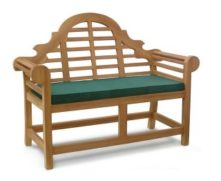 2 Seater Teak Lutyens Bench with Cushion