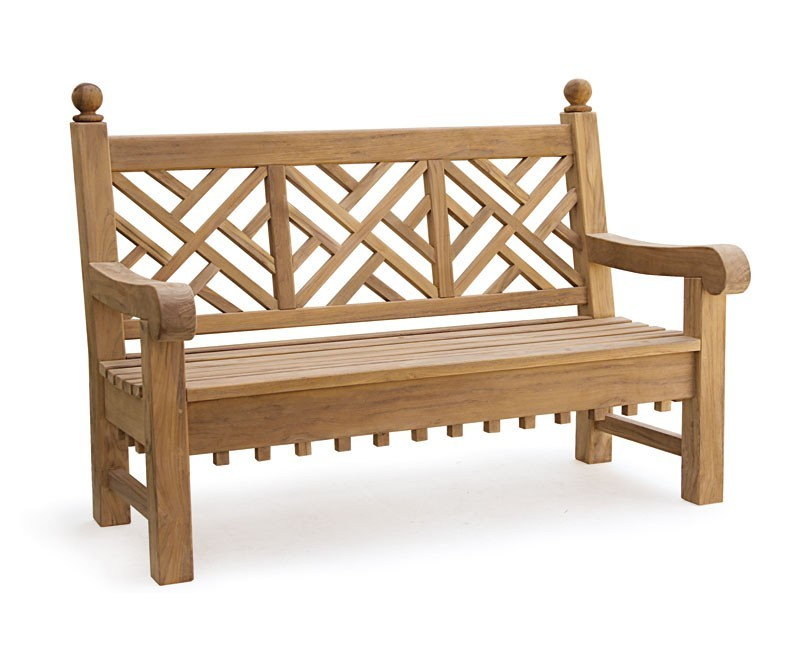 Churchill Teak Chinoiserie Garden Bench - 1.5m