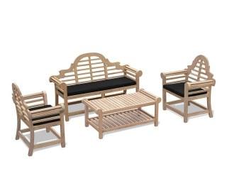 Lutyens Teak Furniture Set Chinoiserie Style