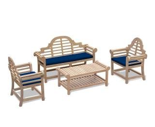 Lutyens-Style Decorative Teak Garden Set with Cushions