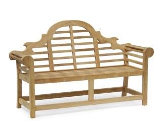 Decorative Teak Lutyens-Style Garden Bench