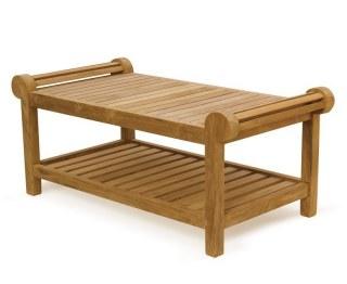 Decorative Lutyens-Style Style Teak Coffee Table with Shelf