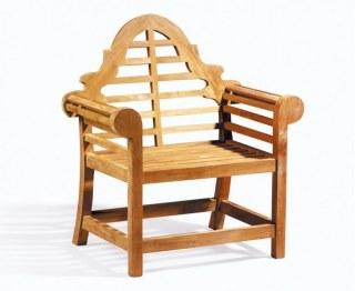 Ornate Lutyens-Style Style Teak Garden Armchair