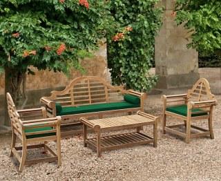Lutyens-Style Teak Wood Furniture Sofa Set with Cushions
