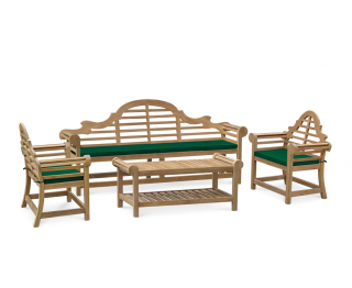 Lutyens-Style 2.25m Bench, Chairs & Coffee Table Teak Patio Set
