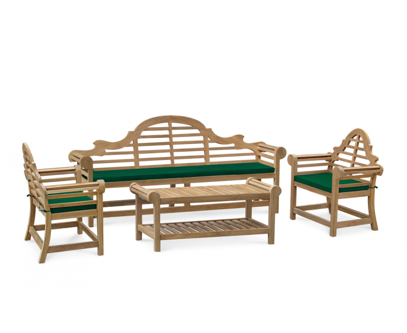 Lutyens-Style 2.25m Bench, Chairs & Coffee Table Teak Patio Set