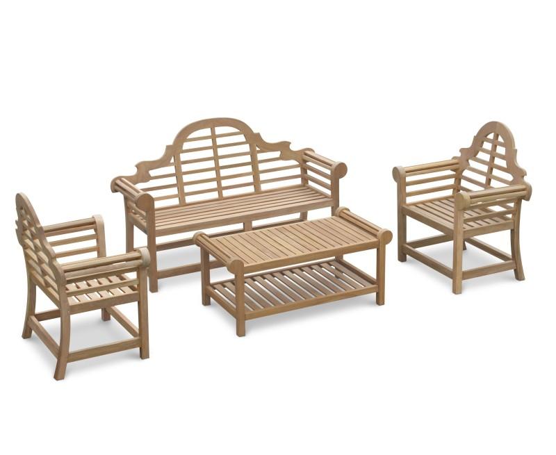 Lutyens-Style 1.65m Bench, Chairs & Coffee Table Teak Patio Set