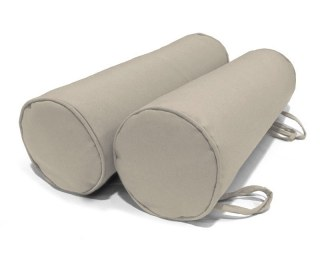 Taupe Pair of Garden Bolster Cushions