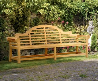 Lutyens-Style Teak High Back Garden Bench - 2.7m