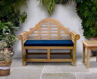 Lutyens-Style Teak Decorative Garden Bench - 1.35m