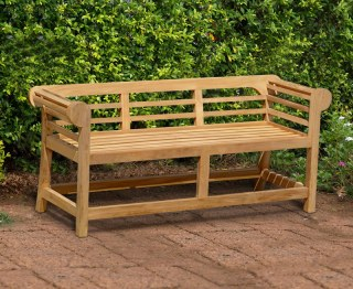 Lutyens-Style Teak Low Back Garden Bench - 1.65m