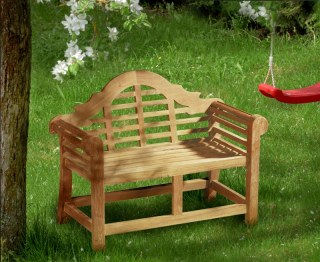 Lutyens-Style Teak Children's Decorative Garden Bench