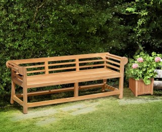 Lutyens-Style Teak Low Back Garden Bench - 1.95m