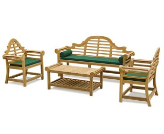 Decorative Lutyens Teak Outdoor Conversation Set