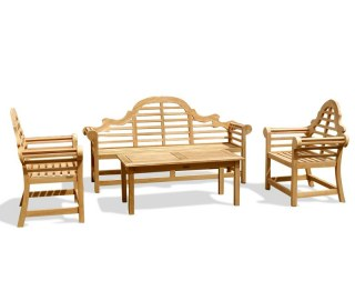 Lutyens 1.95m Bench, Chairs & Hilgrove Coffee Table Teak Set