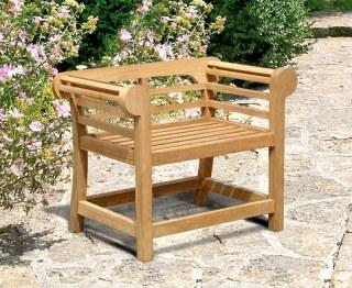 Lutyens-Style Teak Low Back Garden Armchair