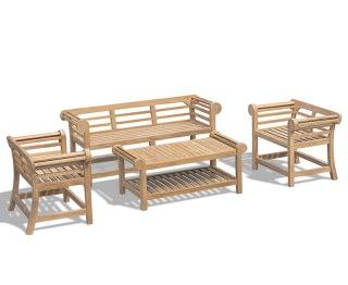 Lutyens-Style 1.65m Low Back Teak Garden Set