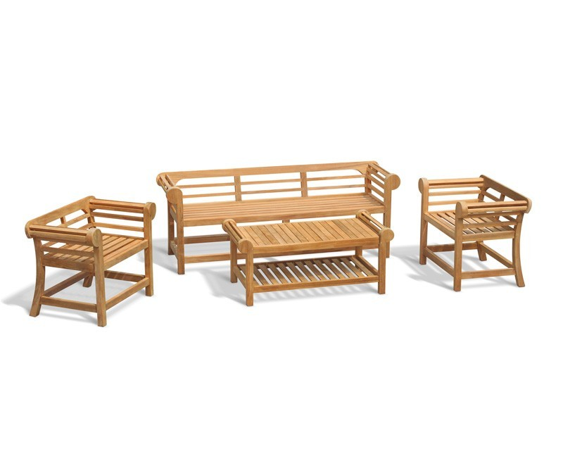 Lutyens 1.95m Low Back Teak Patio Set