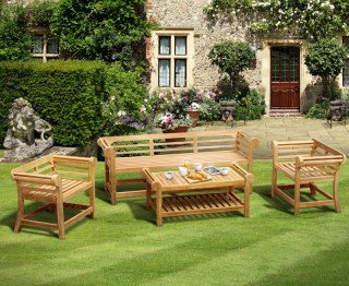 Lutyens-Style 1.95m Low Back Teak Patio Set