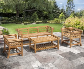 Lutyens 1.65m Low Back Teak Garden Set