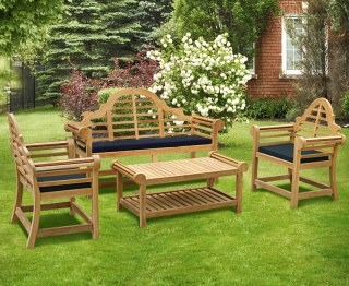Lutyens 1.65m Bench, Chairs & Coffee Table Teak Patio Set