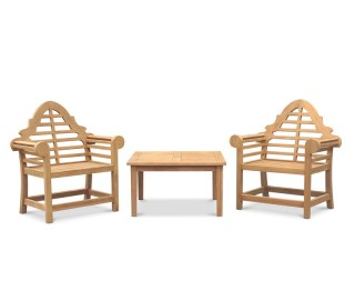 Lutyens-Style 1.95m Bench, Chairs & Side Tables Teak Patio ...