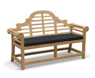 Lutyens-Style 2 Seater Bench Cushion - Black