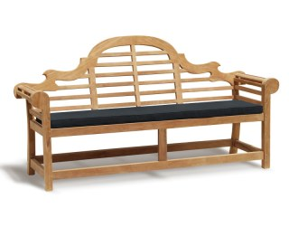 Lutyens-Style 4 Seater Bench Cushion - Black