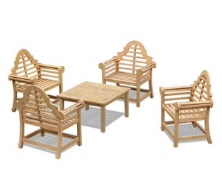 Lutyens-Style Teak Coffee Table Set with 4 Armchairs