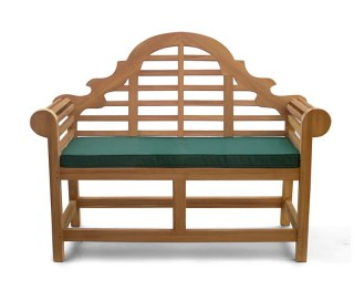 Teak Lutyens-Style Garden Bench with Cushion