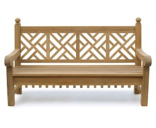 Lattice Back Teak Garden Bench
