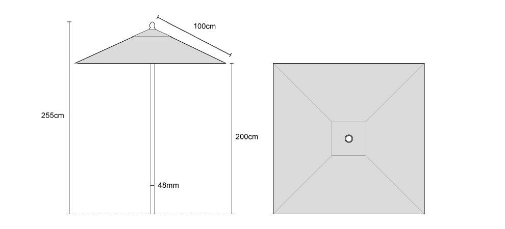 Tilting Square Parasol 2m