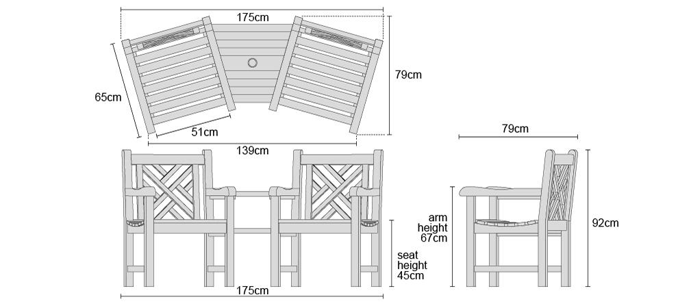 Corner Teak Companion Seat